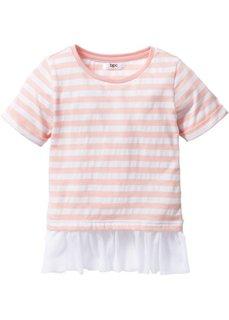 Полосатая футболка с воланами (розовая пудра/цвет белой шерст) Bonprix