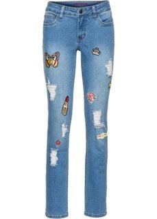 Узкие джинсы с нашивками (синий) Bonprix