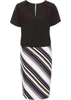 Трикотажное платье с коротким рукавом (черный/белый/красный/серо-кори) Bonprix