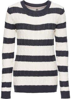 Вязаный пуловер с круглым вырезом горловины (серый меланж/черный в полоску) Bonprix