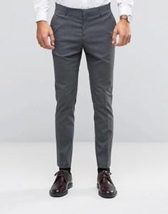 Строгие эластичные зауженные брюки ASOS WEDDING - Серый