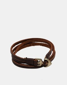 Кожаный браслет с якорем ASOS - Коричневый