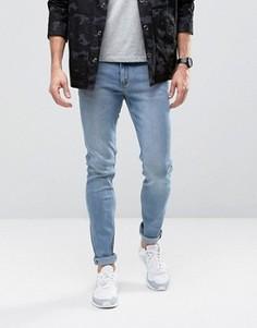 Голубые зауженные джинсы из стираного денима Cheap Monday - Синий