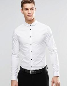 Зауженная белая рубашка с закругленным воротником и контрастными пуговицами ASOS - Белый