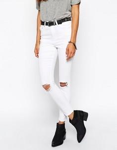 Укороченные белые джинсы скинни с декоративными прорехами ASOS Ridley - Белый