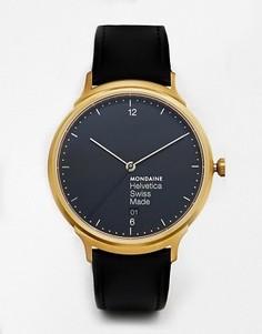 Часы с кожаным ремешком Mondaine Helvetica - Черный