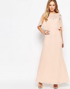 Платье макси с рукавами-бабочками и декоративной отделкой ASOS - Розовый
