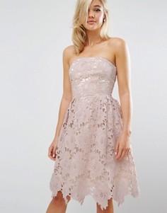 Кружевное платье миди Little Mistress - Розовый