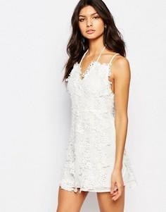 Платье мини с цветочным кружевом Foxiedox Clover - Белый