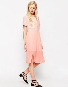 Платье-рубашка миди с полупрозрачными вставками Style London - Розовый