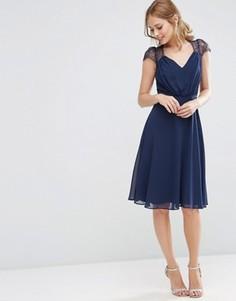 Платье миди с кружевными вставками ASOS Kate - Темно-синий