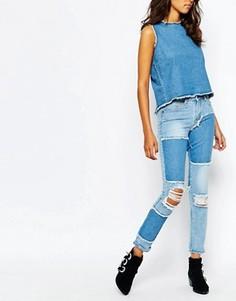 Узкие джинсы в винтажном стиле с необработанным краем Liquor & Poker - Синий