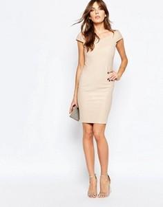 Бандажное платье в рубчик Lipstick Boutique Avie - Золотой
