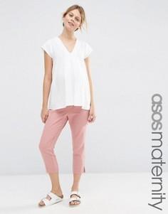 Льняные укороченные брюки для беременных ASOS Maternity - Розовый