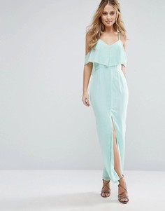 Платье макси с рюшами и разрезом Elise Ryan - Зеленый