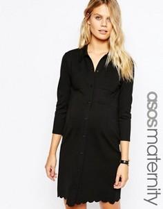 Платье-рубашка для беременных с фактурной отделкой ASOS Maternity - Черный