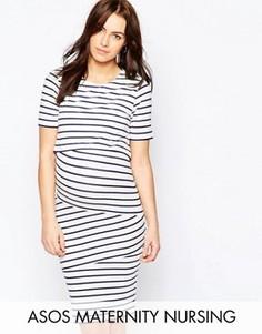 Двухслойное облегающее платье в полоску для беременных ASOS Maternity - Мульти