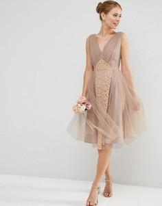 Платье миди для выпускного ASOS WEDDING - Розовый