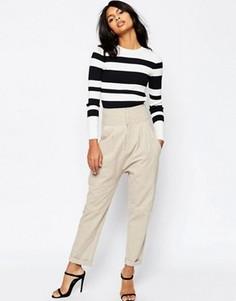 Льняные гаремные брюки ASOS - Бежевый