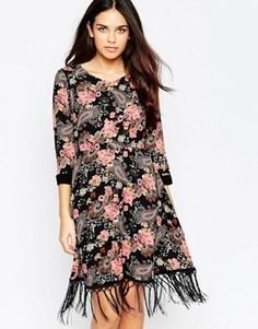 Платье с бахромой по краю Style London Festival - Черный