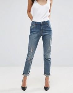 Рваные выбеленные джинсы бойфренда ASOS KIMMI Shrunken - Синий