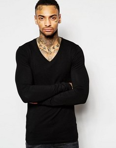 Черная футболка с длинными рукавами и V‑образным вырезом ASOS - Черный