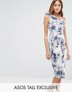 Платье миди на одно плечо с цветочным принтом ASOS TALL - Мульти