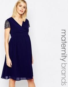 Короткое приталенное платье для беременных с декорированными рукавами Little Mistress Maternity - Темно-синий