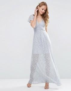 Кружевное платье макси с запахом и завязкой ASOS WEDDING - Серый