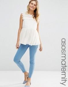 Облегающие джинсы для беременных с поясом под животом ASOS Maternity Ridley - Синий