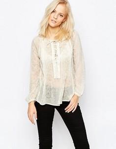 Рубашка на шнуровке в стиле бохо Greylin Zuri - Белый