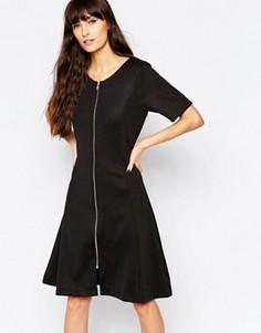 Цельнокройное платье с молнией спереди Minimum - Черный