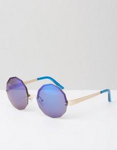 Шестиугольные солнцезащитные очки с синими зеркальными стеклами Jeepers Peepers - Синий