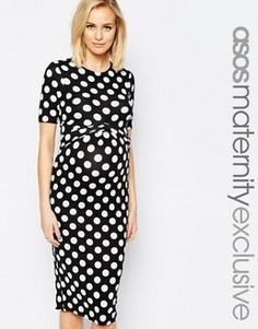 Облегающее платье для беременных в горошек с перекрестом ASOS Maternity - Мульти