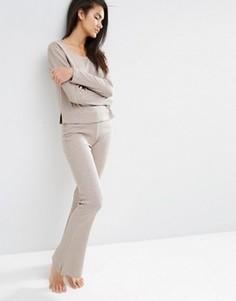 Зауженные брюки в рубчик с клешем ASOS LOUNGE - Бежевый
