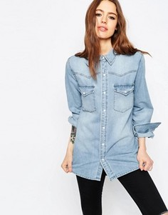 Светлая джинсовая рубашка бойфренда ASOS - Синий