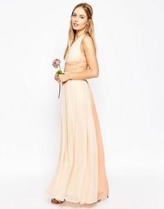 Платье макси с контрастной отделкой ASOS WEDDING Hollywood - Розовый
