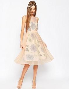 Платье для выпускного с принтом и прозрачным верхним слоем ASOS WEDDING - Розовый