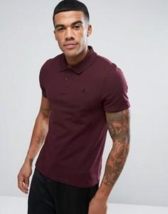 Бордовая облегающая футболка-поло с логотипом ASOS - Красный