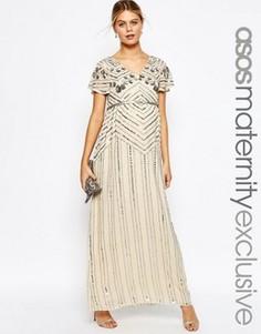 Платье макси для беременных с декоративной отделкой ASOS Maternity - Кремовый