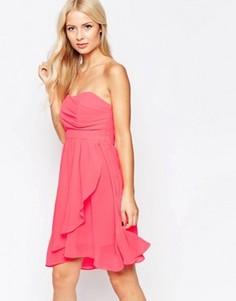 Шифоновое платье для выпускного с лифом-бандо Traffic People - Розовый