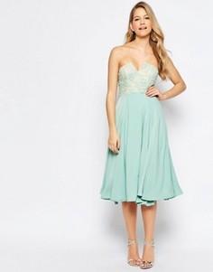 Платье миди с кружевной отделкой на лифе Jarlo Violetta - Зеленый