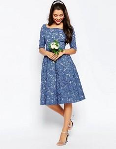 Кружевное платье для выпускного ASOS WEDDING - Синий