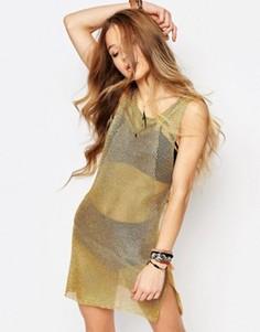 Фестивальное трикотажное платье с оттенком металлик ebonie n ivory - Золотой