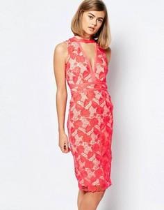 Кружевное платье миди с глубоким вырезом Lost Ink - Красный
