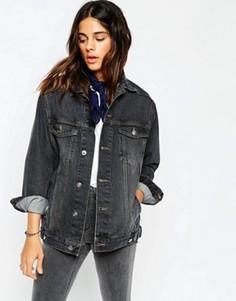 Черная джинсовая выбеленная куртка ASOS - Черный