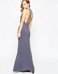Платье макси с запахом и Т-образной вставкой на спинке TFNC - Серый