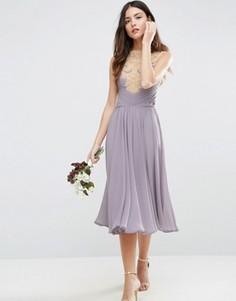 Кружевное платье миди ASOS WEDDING - Фиолетовый