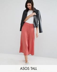 Расклешенная юбка миди на кнопках ASOS TALL - Розовый