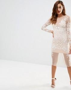 Платье миди из сеточки ASOS Ergonomic - Белый